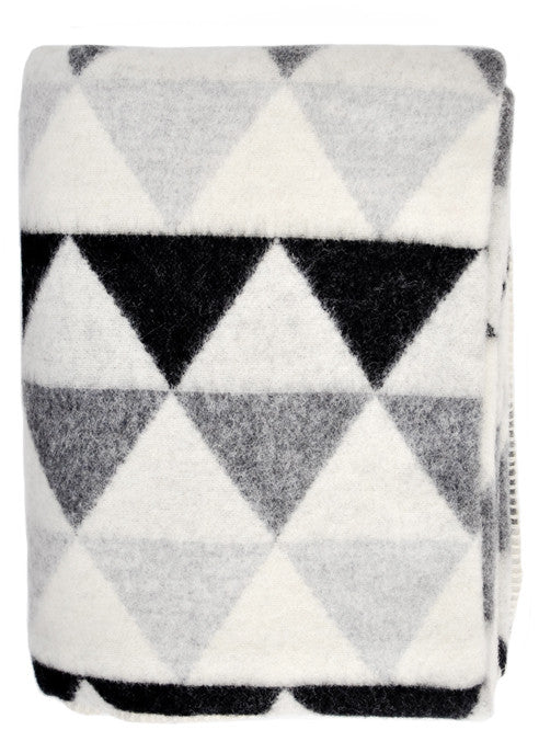 Greyscale Triangles Wool Blanket - LEIF
