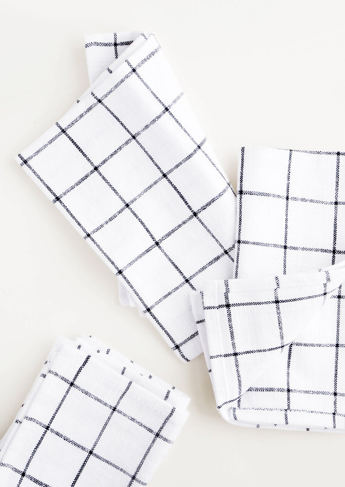 2: Cloth cotton napkins in white with charcoal grid print