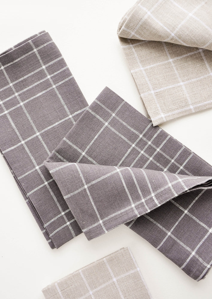 2: Grid Linen Napkin Sets in Flax & Charcoal | LEIF