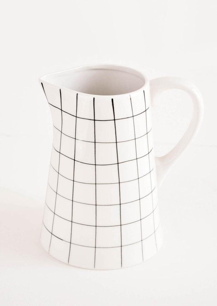 Grid Print Ceramic Pitcher in White & Black - LEIF