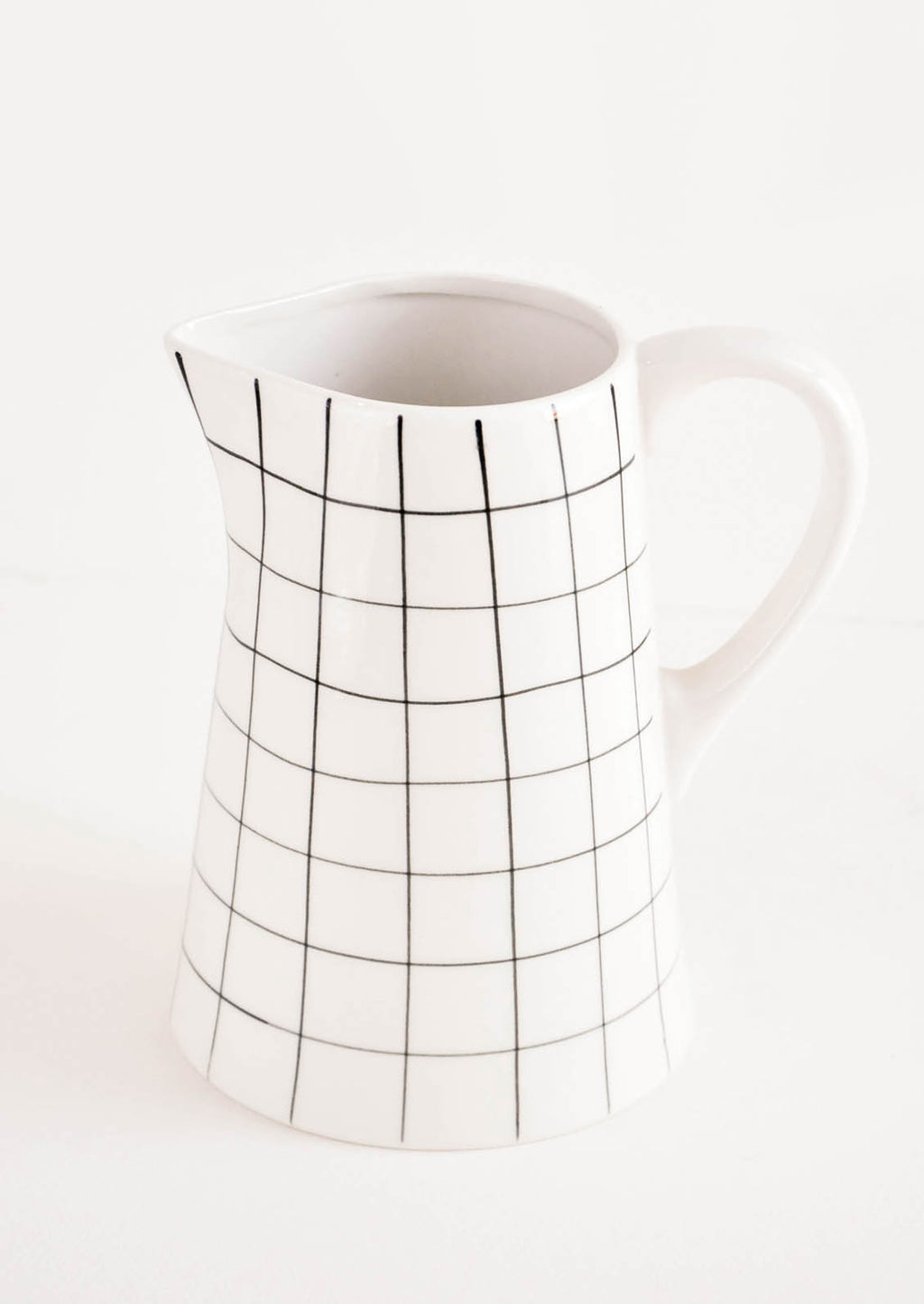 1: Grid Print Ceramic Pitcher in White & Black - LEIF