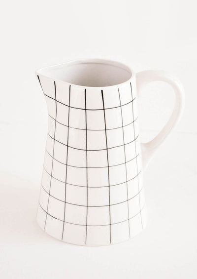 Grid Sketch Ceramic Pitcher