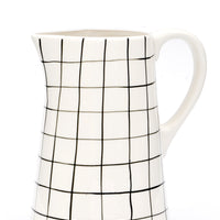 3: Grid Print Ceramic Pitcher in White & Black - LEIF