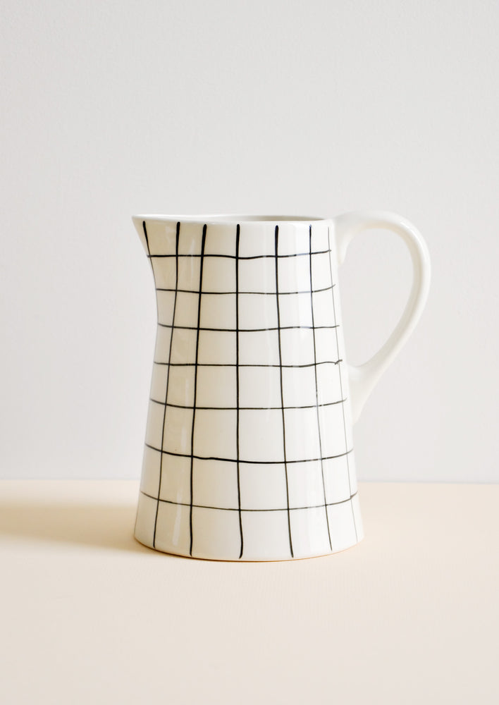 2: Grid Print Ceramic Pitcher in White & Black - LEIF