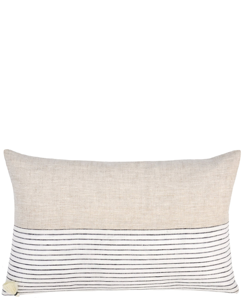 6: Rectangular throw pillow with natural linen top half and black and white striped bottom half