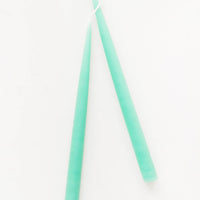 Aqua: Pair of Two long Taper Candles in Aqua.