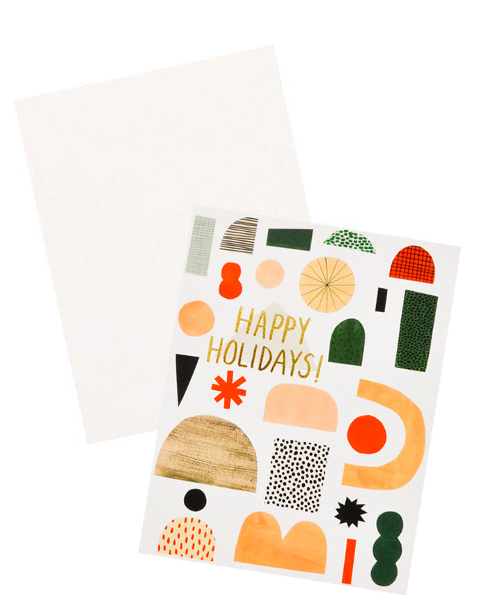 "Single Card: Greeting card with illustrated shapes and ""Happy Holidays"" written in gold foil."