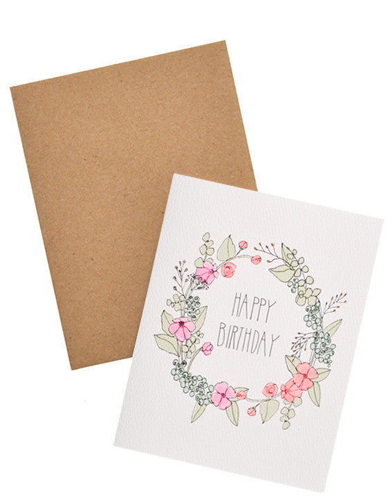 Floral Wreath Birthday Card - LEIF
