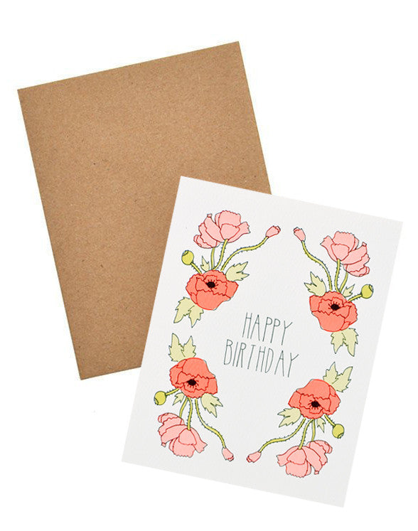 Neon Poppies Birthday Card - LEIF