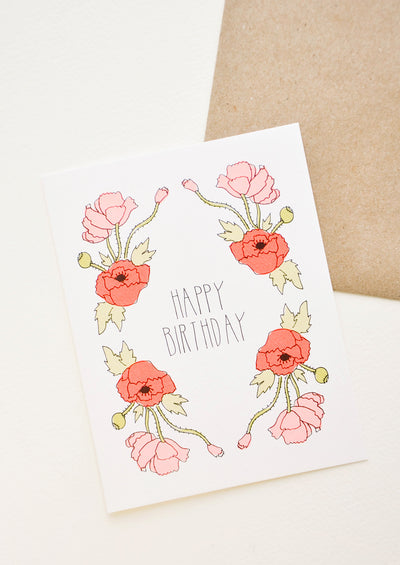 Neon Poppies Birthday Card