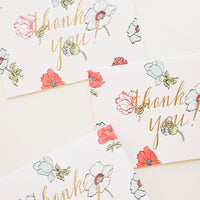 Neon Floral Thank You Card Set