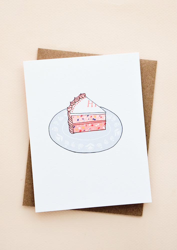 1: Greeting card with single slice of birthday cake on a plate.