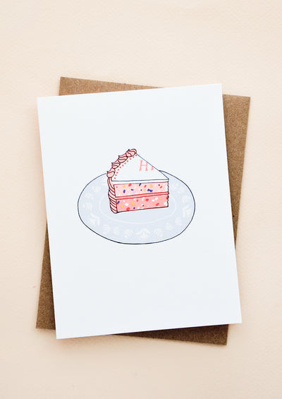 Greeting card with single slice of birthday cake on a plate.