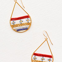 Crimson / Blue Multi: Gold teardrop shaped earrings with deep red, white, blue, and gold glass beads filling bottom half of teardrop.