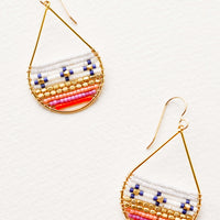 Pink / Orange Multi: Gold teardrop shaped earrings with small beads in white, blue, pink, orange, and gold filling with lower portion of teardrop.