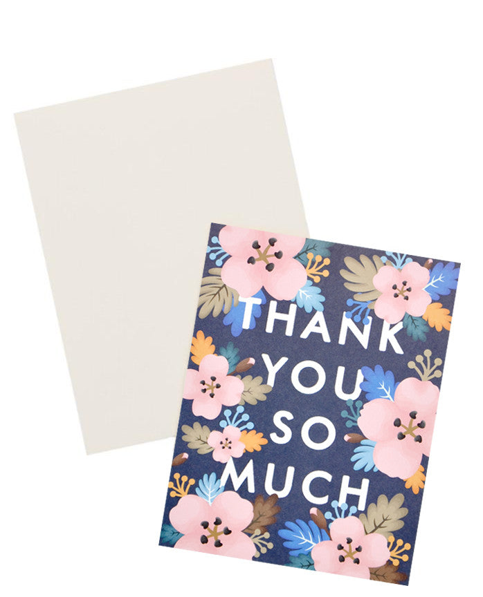 "2: Black notecard with pastel Hawaiian floral decoration and the text ""Thank you so much"" with white envelope."