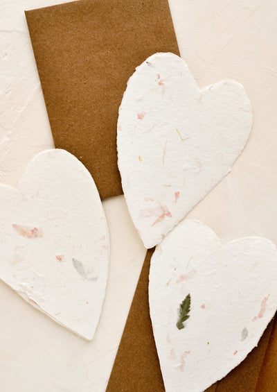 Heart shaped cards made from handmade flower paper.