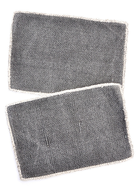 Charcoal: Heirloom Overdye Placemat Set in Charcoal - LEIF