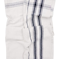 3: White herringbone textured cotton with navy blue plaid stripe detailing