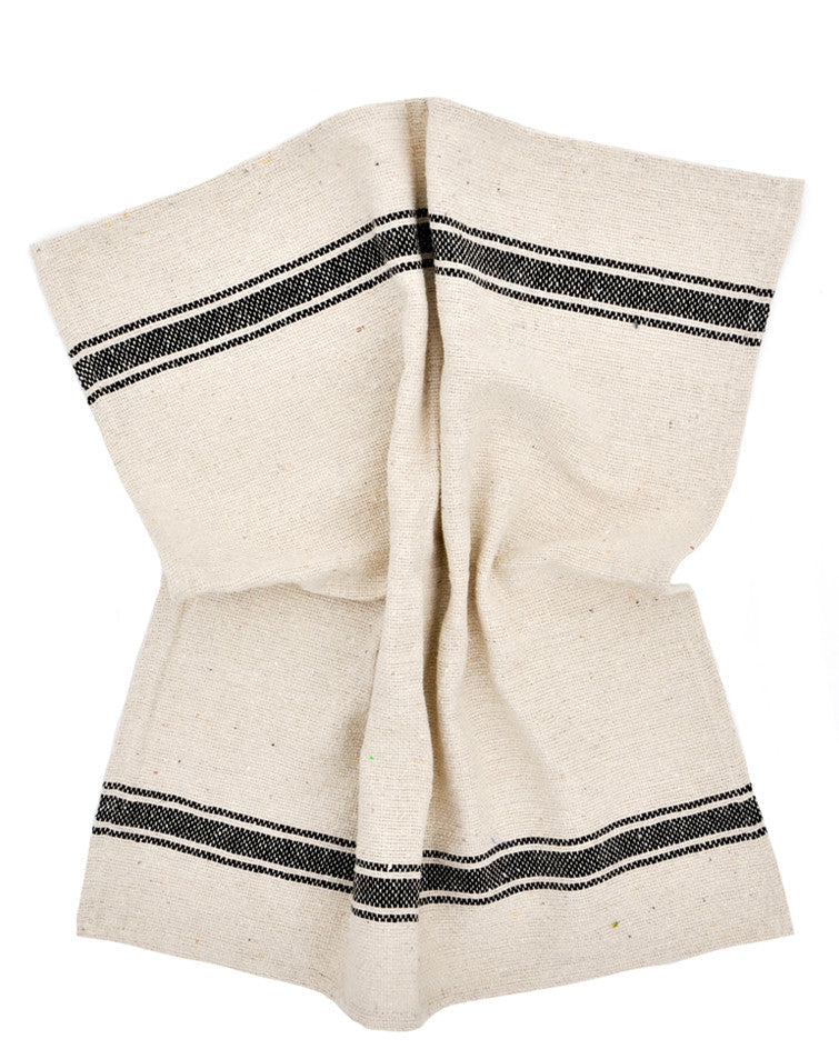 5: Thick woven cotton kitchen towel in natural with thick black stripe