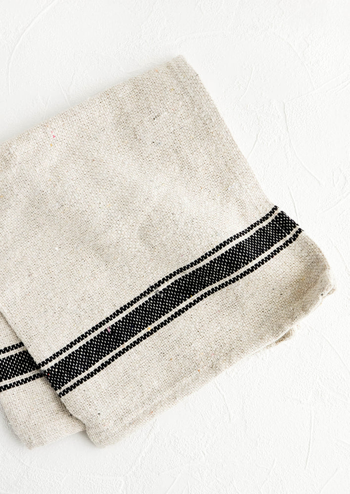 Thick woven cotton kitchen towel in natural with thick black stripe