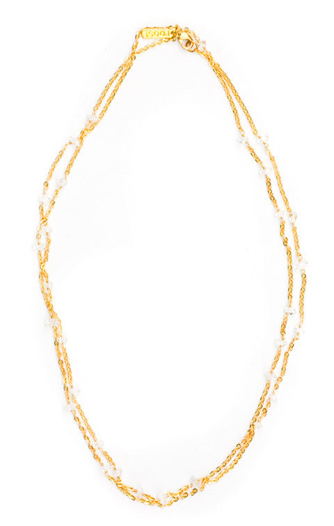 1: Herkimer Diamond Beaded Chain Necklace in  - LEIF