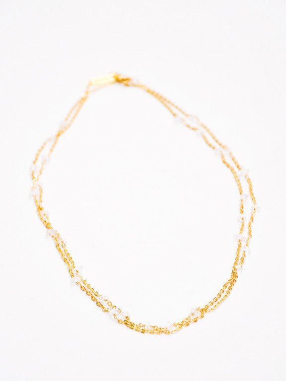 3: Herkimer Diamond Beaded Chain Necklace in  - LEIF