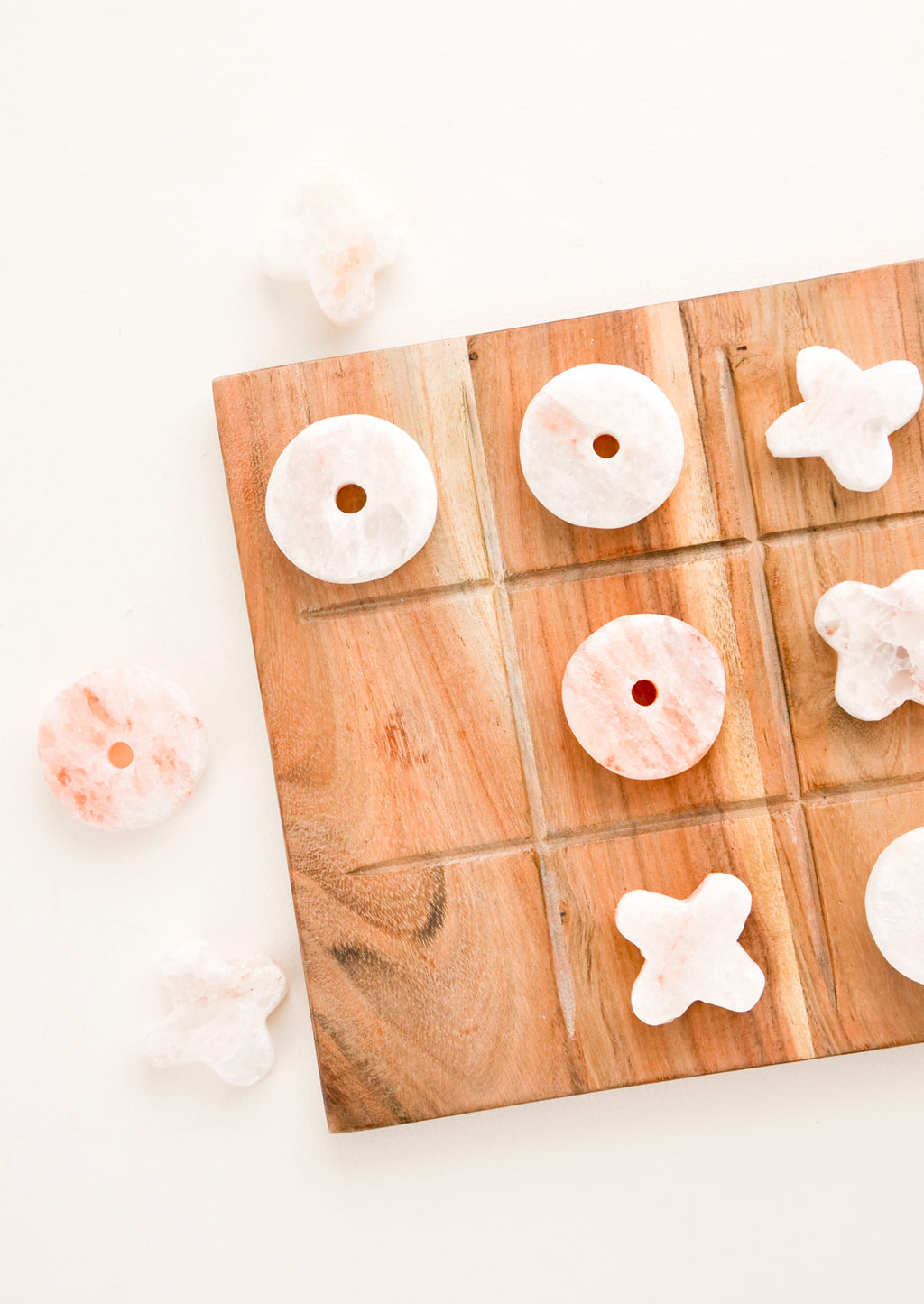 1: Wooden Tic Tac Toe Board with Pink Salt Letters - LEIF