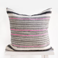 2: Square throw pillow in natural hemp fabric with varied stripes in black and hot pink