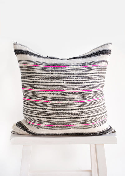Hmong Hemp Pillow in Black & Pink hover