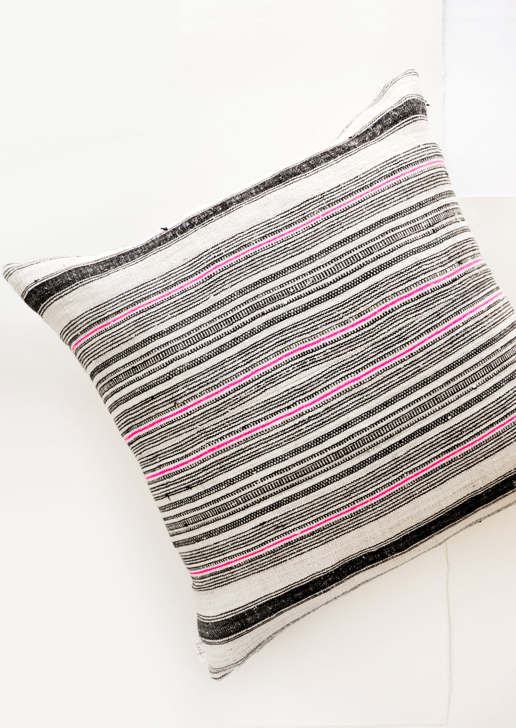 Hmong Hemp Pillow in Black & Pink