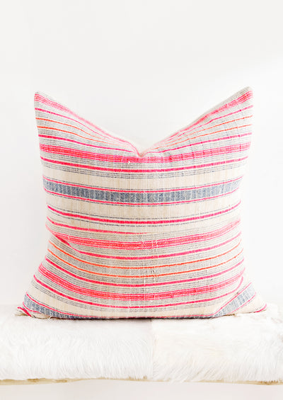Hmong Hemp Pillow in Pink, Orange & Tan