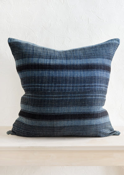 Hmong Hemp Pillow in Indigo & Black