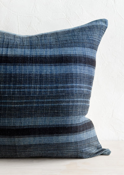 Hmong Hemp Pillow in Indigo & Black hover