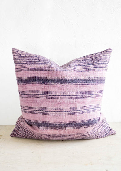 Vintage Hemp Pillow in Lavender & Indigo