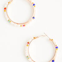 1: Round hoop earrings with beaded outer layer of pearls and colored glass seed beads and rosegold inner hoop