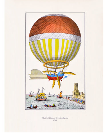 Hot Air Balloon Lithograph Print, c. 1950