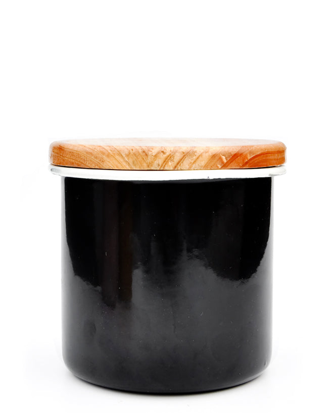 Black: Enamel Storage Jar With Wooden Lid Black
