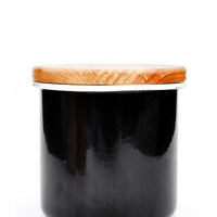 Enamel Storage Jar With Wooden Lid Black