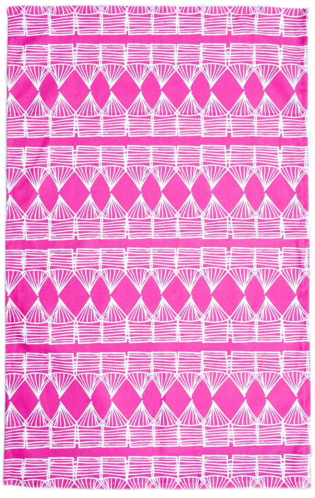 Huts Print Tea Towel