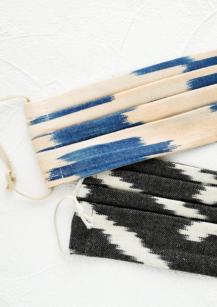 2: Pleated face coverings made from ikat woven cotton