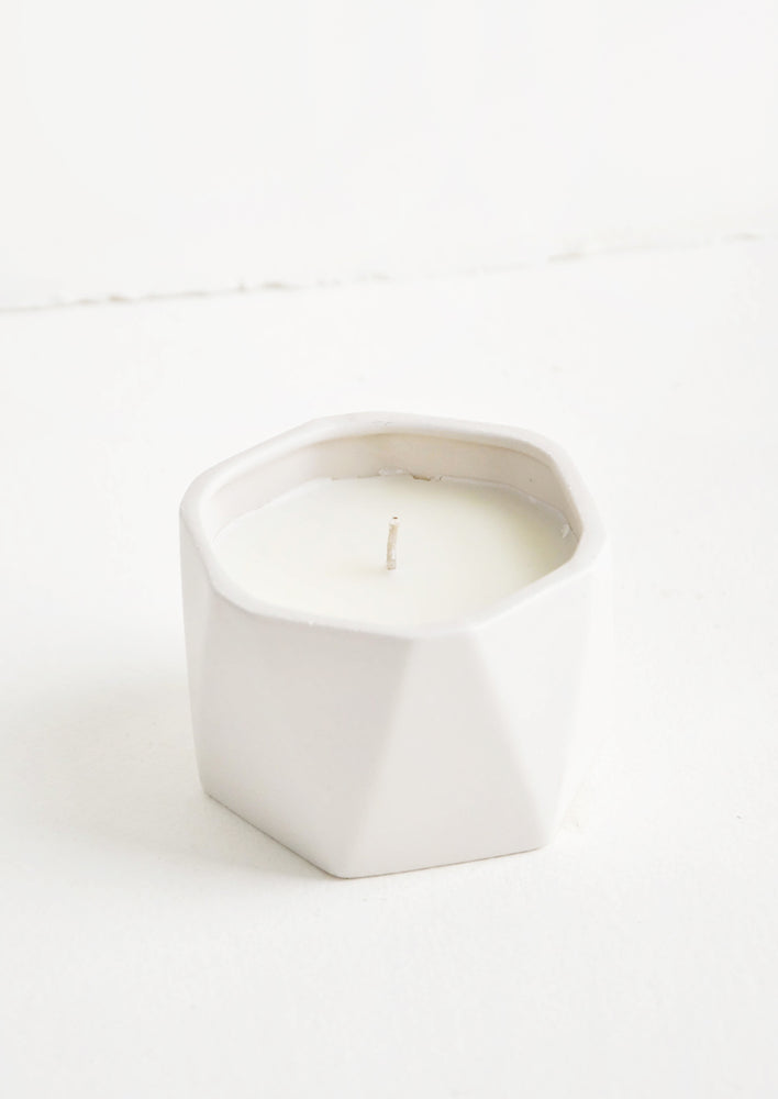 Gardenia: Geo Faceted Ceramic Candle in Gardenia - LEIF
