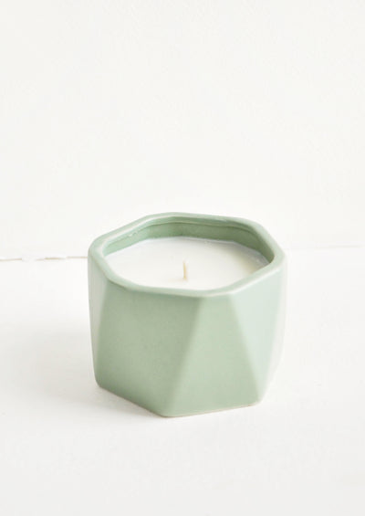 Geo Faceted Ceramic Candle