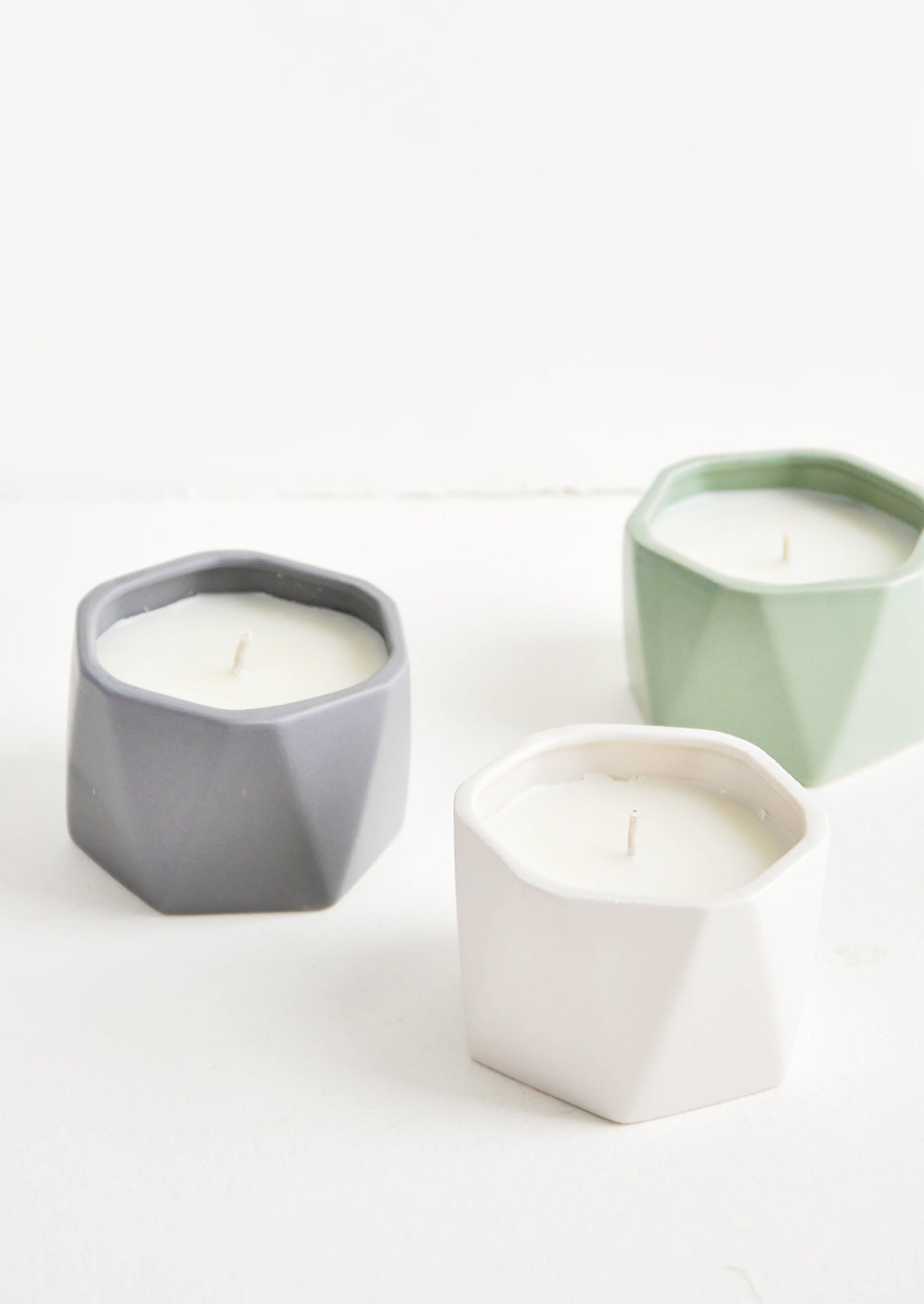 1: Geo Faceted Ceramic Candle in  - LEIF