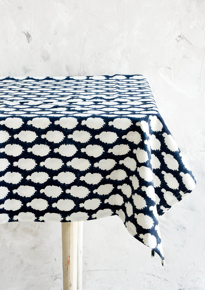 1: Indigo cotton tablecloth with block printed batik print, displayed on table