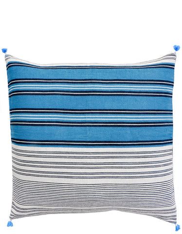 "Asmaani Pillow in Blue Multi Stripe, 24"" - LEIF"