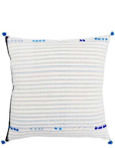 "Asmaani Pillow in Blue Tassel Stripe, 24"" - LEIF"