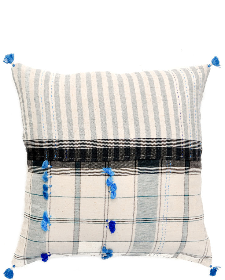 Asmaani Pillow in Blue Plaid Tassel, 16""