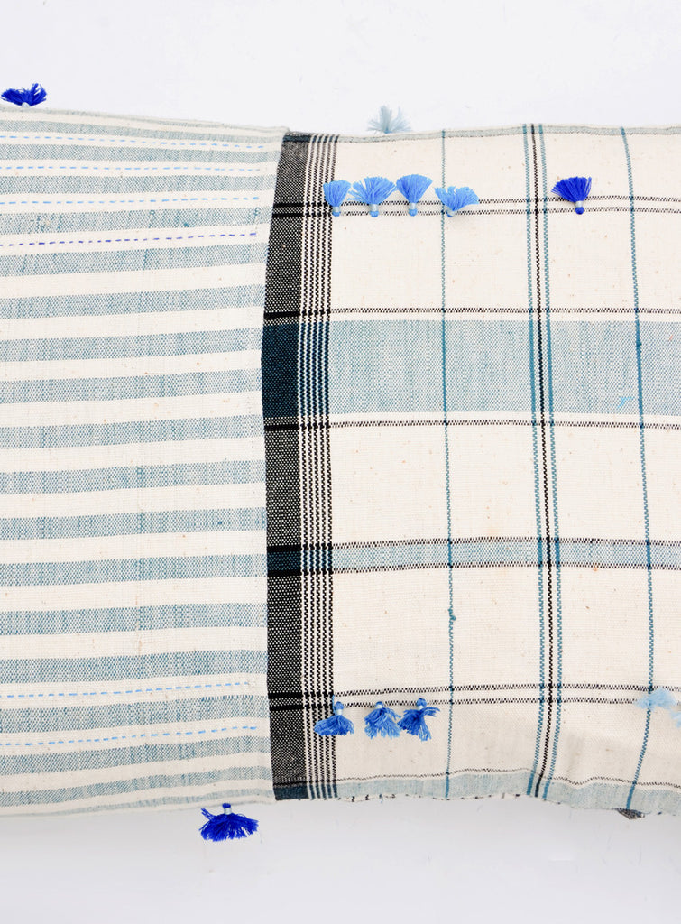 "Asmaani Pillow in Plaid Stripe, 16"" x 24"" - LEIF"