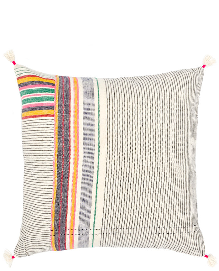 "Ahir Pillow in Multicolor Stripe, 16"" in  - LEIF"